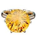 EDI Великолепная 9ct Круглая Огранка Цитрин Природный Желтый Кристалл 9 К Желтое Золото Кольцо Для Женщин Свадьба Обручальное Кольцо Хэллоуин подарки