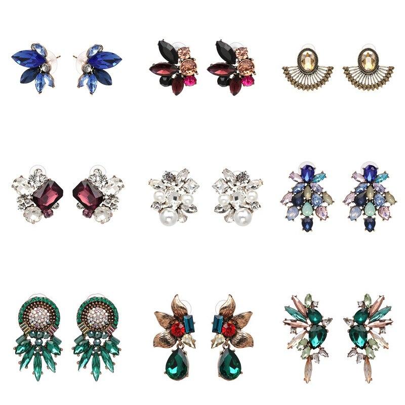 FASHIONSNOOPS New 2019 Handmade Crystal Simple Cheap Statement Earrings Girls Popular Stud Earrings Fashion Jewelry Wholesale