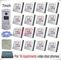 For 16 Apartments video door phones door bells intercom systems support Inductive Card/Password unlocking function