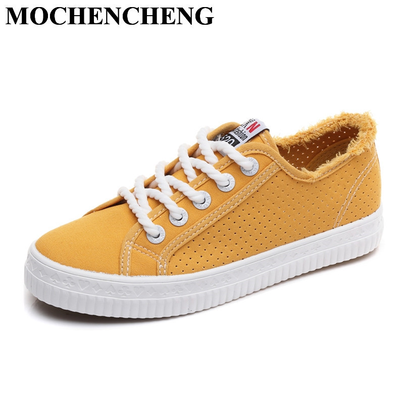 New Women Canvas Shoes for Summer Hollow Breathable Lace-up Casual Shoes Classic Retro Solid Flat Leisure Shoes Nonslip Sneakers 2018 new summer women casual shoes lace up woman sneakers breathable flat footwear female mesh shoes fashion dt926