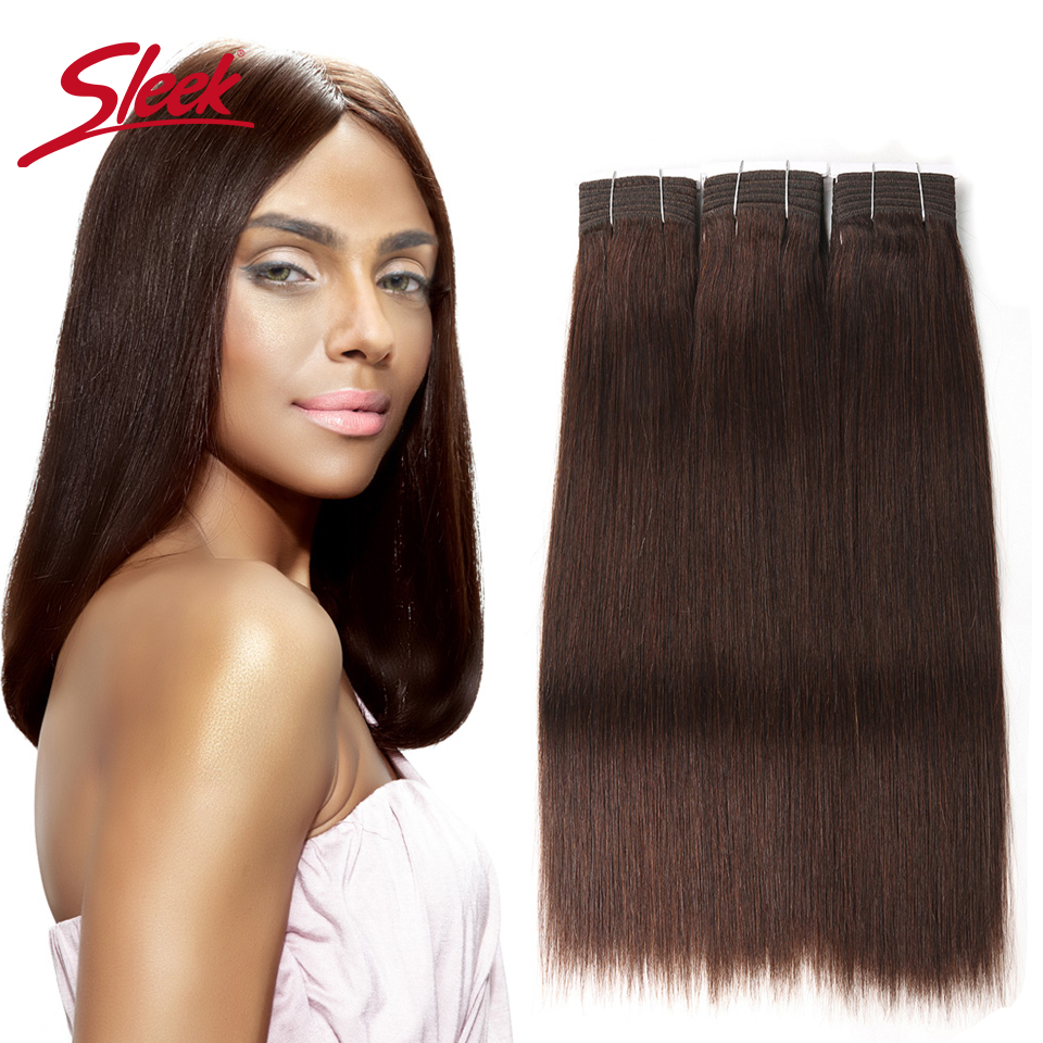 Sleek Hair Double Drawn Brazilian Remy Human Hair Bundles Yaki Straight Hair Weave #2/#6/#33Natural Color Human Hair Bundles(China)