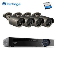 Techage Security Camera POE CCTV System 4CH 1080P NVR Kit 4pcs Outdoor PoE IP Camera IP66 Waterproof Video Surveillance Set
