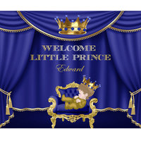 Customize Royal Blue and Gold Prince Themed Tiara King Backdrop XT4743