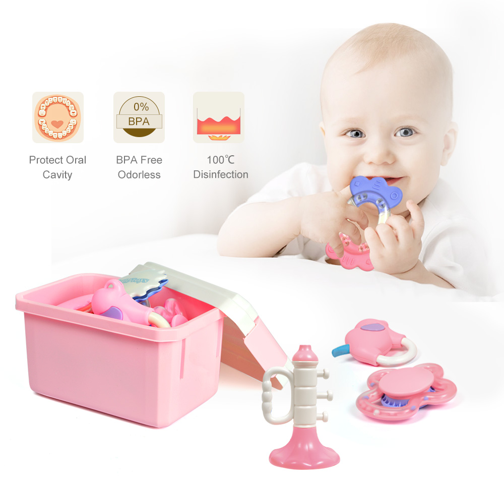 Tumama 10pcs Teether Music Handle Rattles Toys Novelty Bell Ring Early Learning Educational Toys Elephant Hand Rattles Toys Baby