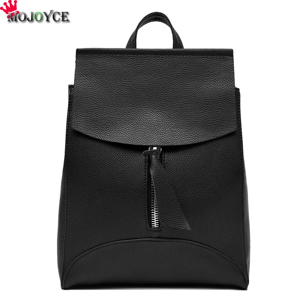 Women Leather Backpack Small Minimalist Solid Black School Bags For Teenagers Girls Feminine Backpack SAC A DOS Femme