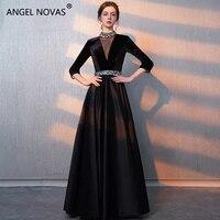 ANGEL NOVIAS Long Sleeves Rhinestones Beaded Black Elegant High Neck Party Prom Dress 2018 Vestidos Coctel Mujer 2018