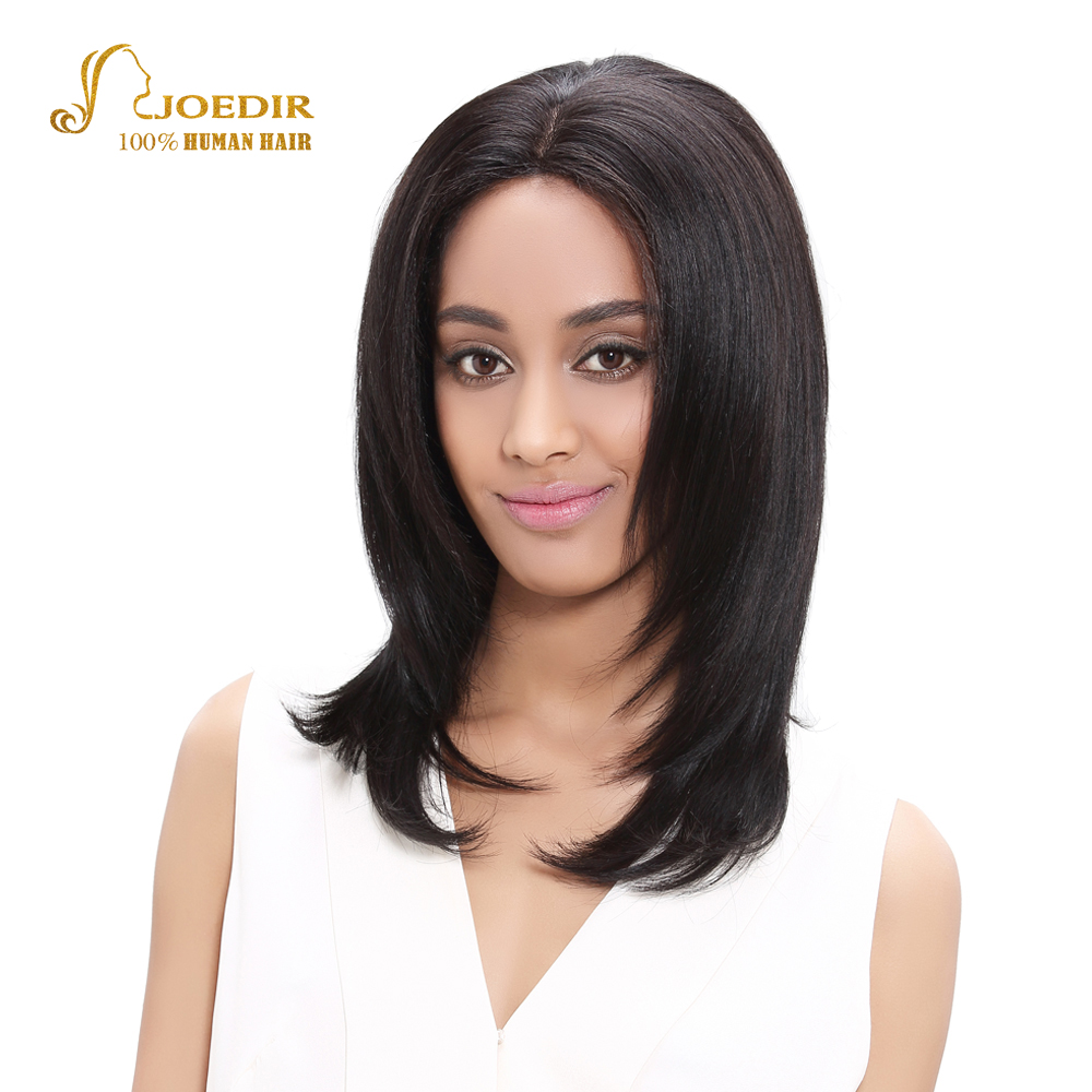 Joedir Lace Front Human Hair Wigs Straight Short Wigs Human Hair For Black Women Brazilian Hair Wigs Color 1B Free Shipping