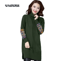 Women Embroidery Knitted Sweaters Oversized Sweater Retro O Neck Long Sleeve Loose Pullover Female Autumn Winter