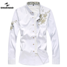 SHAN BAO marke männer casual langarm-shirt Chinesische stil blumen 2017 herbst neue große größe baumwollhemd weiß schwarz rot