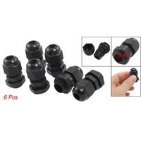 LIXF HOT 6 Pcs Black Plastic Waterproof Connectors PG7 Cable Glands