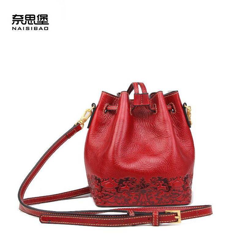 Cow leather handbag free delivery New leather women bag Retro shoulder Messenger bag Leisure bucket bag genuine leather bag free delivery women bag ethnic retro embossed handbag originality shoulder messenger bag