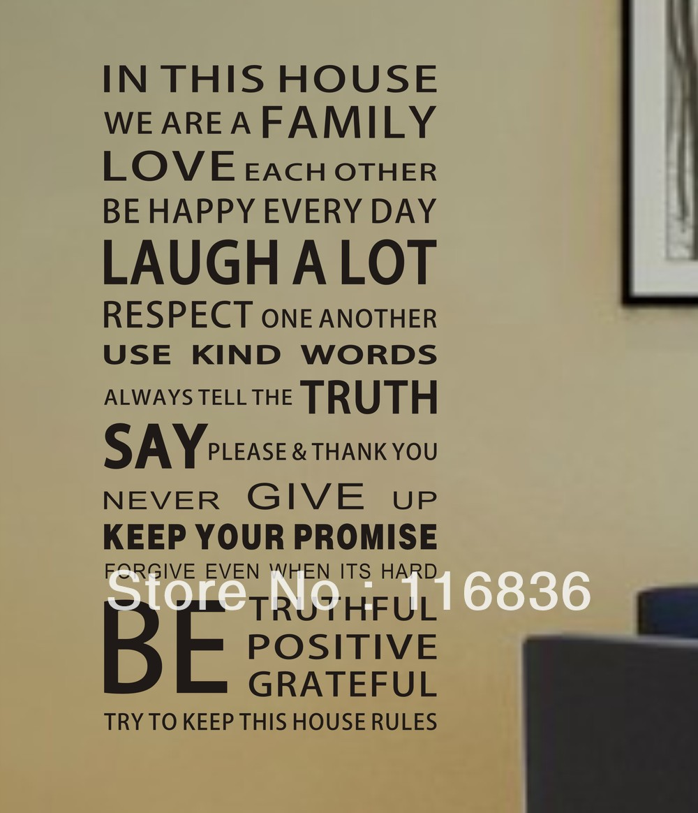 White Large Family House Rules Modren Romantic Word Quote Wall Decalsticker Wall Lettering Wall Wall Stickers From Home Garden On Large Family House Rules Modren Romantic Word