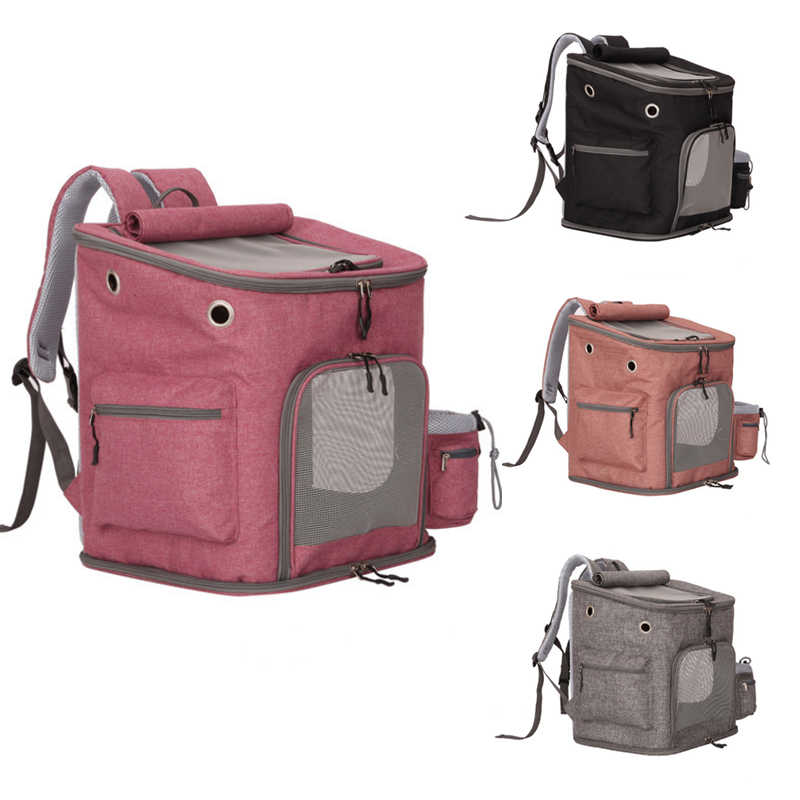 Pet Cat Outdoor Handbag Travel Carrier Packbag Portable Zipper Mesh Backpack Breathable Dog Bag 4 Colors Pink Pet Dog Carriers