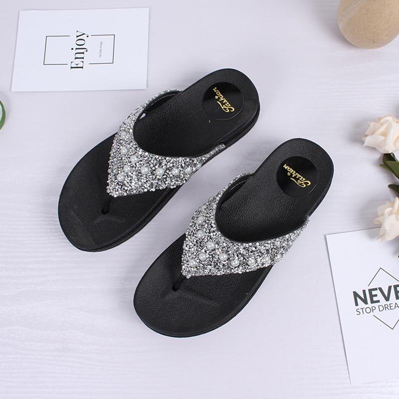 564563ba66fbd1 Gold silver glitter flipflops summer bling bling platform sandals woman  thick bottom anti skid slides girls beach cozy slippers-in Flip Flops from  Shoes on ...