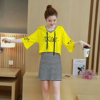 Women Outfit Leisure Stripe Hooded Top And Tank Dress Suit Two-Piece Dress Set Korea Fashion Letter Print Loose Hoodies  S-XXL