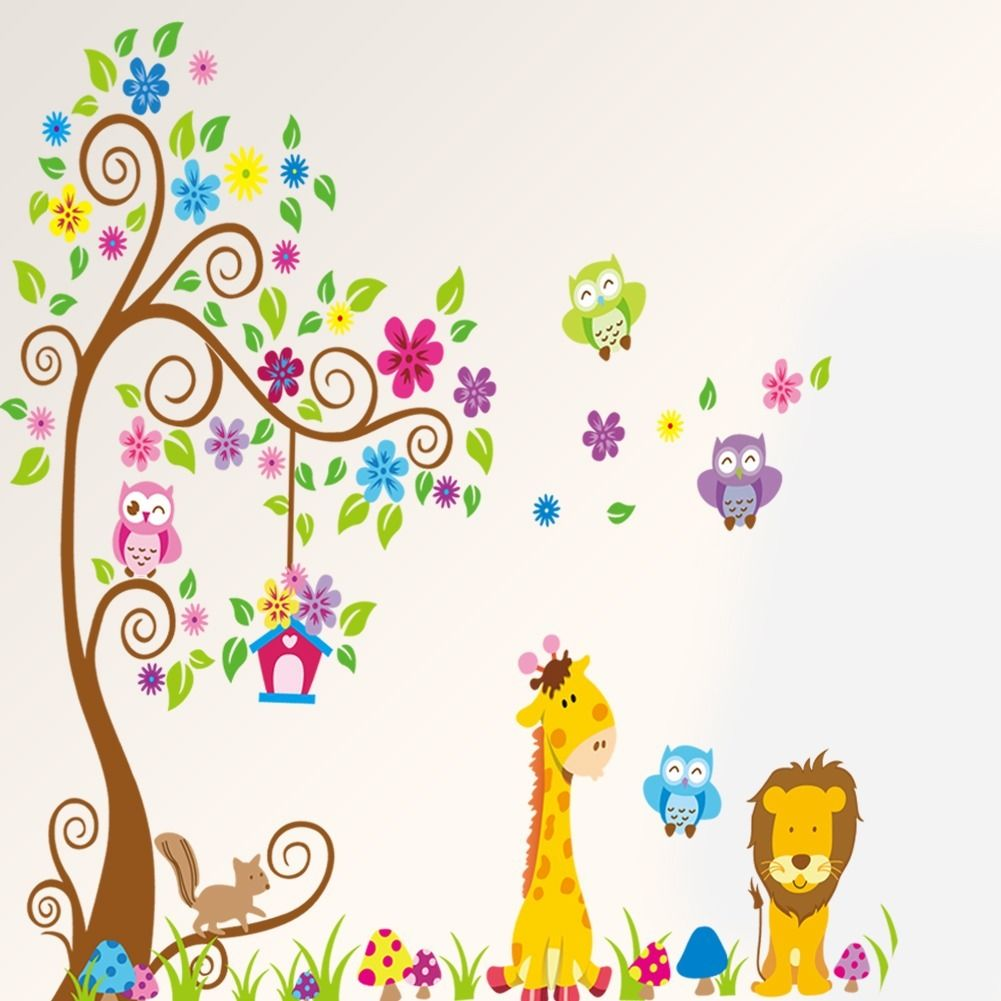 Cartoon diy animal giraffe owls lion under tree wall for Stickers infantiles