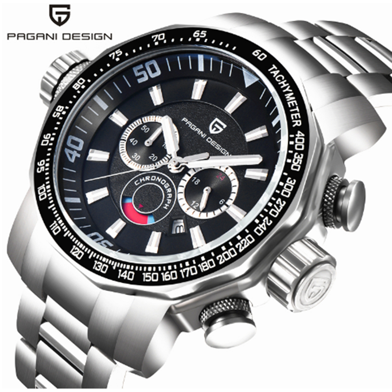 PAGANI DESIGN Sports Luxury Watch Waterproof Calendar Chronograph Quartz Multifunction Military Stainless Steel