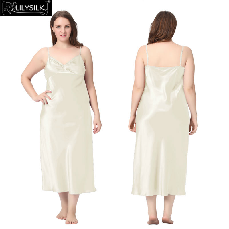 1000-beige-22-momme-gathered-bowknot-neck-silk-nightgown-plus-size-01
