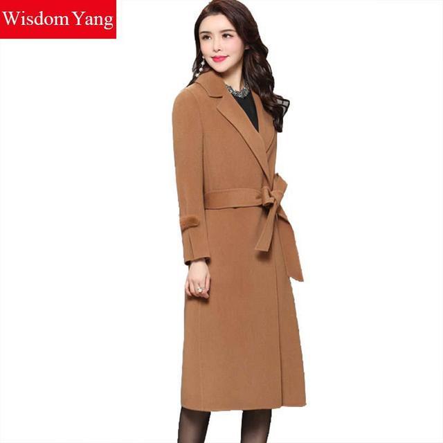 5a18880c1f2 Elegant Womens Wool Coats Brown Green Camel Woman Winter Warm Female Mink  Woolen Long Ladies Overcoat fall Coat Outerwear