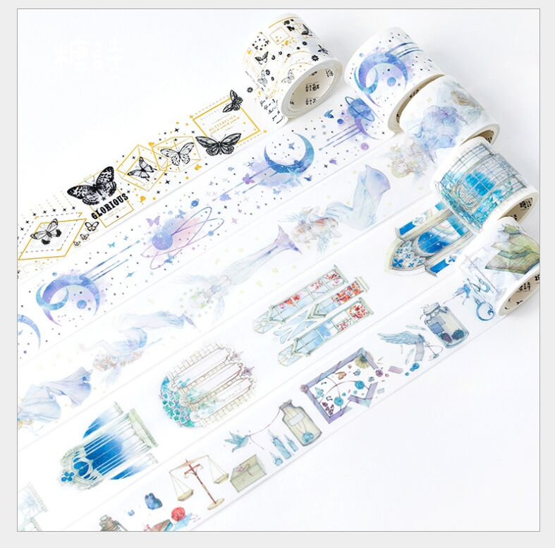 Dreamlike Rashomon Door Angel Girl Stars Moon Sky Butterfly Vintage Letter Washi Tape DIY Planner Diary Masking Tape Escolar