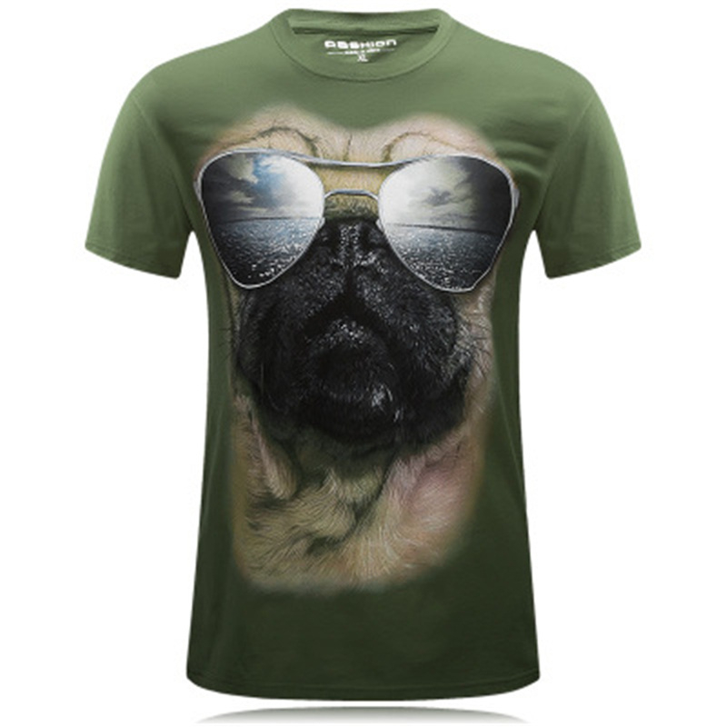 Summer T Shirts Men Monkey 3D Print Pug Breathable Short Sleeve T-shirts Male Tees Round Neck Hip Hop Pullover Outdoor Top