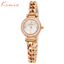 KIMIO Nueva Llegada Relojes Pulsera Para Las Señoras Diseñador Mujeres Reloj de Cuarzo Resistente A los Golpes Cristal Elegante Femenina Del Diamante Relojes