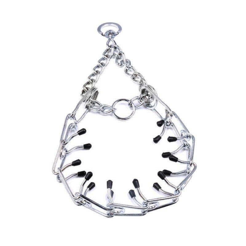 Dog Chain Collar Pet Iron Metal Adjustable Durable Silver Color Covered Choke Neck Leash Walking Behavior Training Tool Supplies