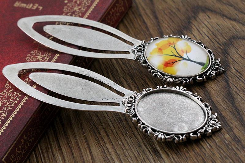 New Fashion 2pcs 18x25mm Inner Size Antique Silver Simple Style Handmade Bookmark Cabochon Base  Cameo Setting (H1-10)