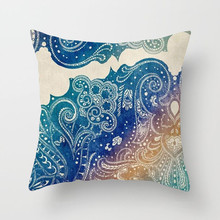Fuwatacchi Mandala Decoration Cushion Cover Pillow Blue Pink Geometric Floral Print for decorative pillows