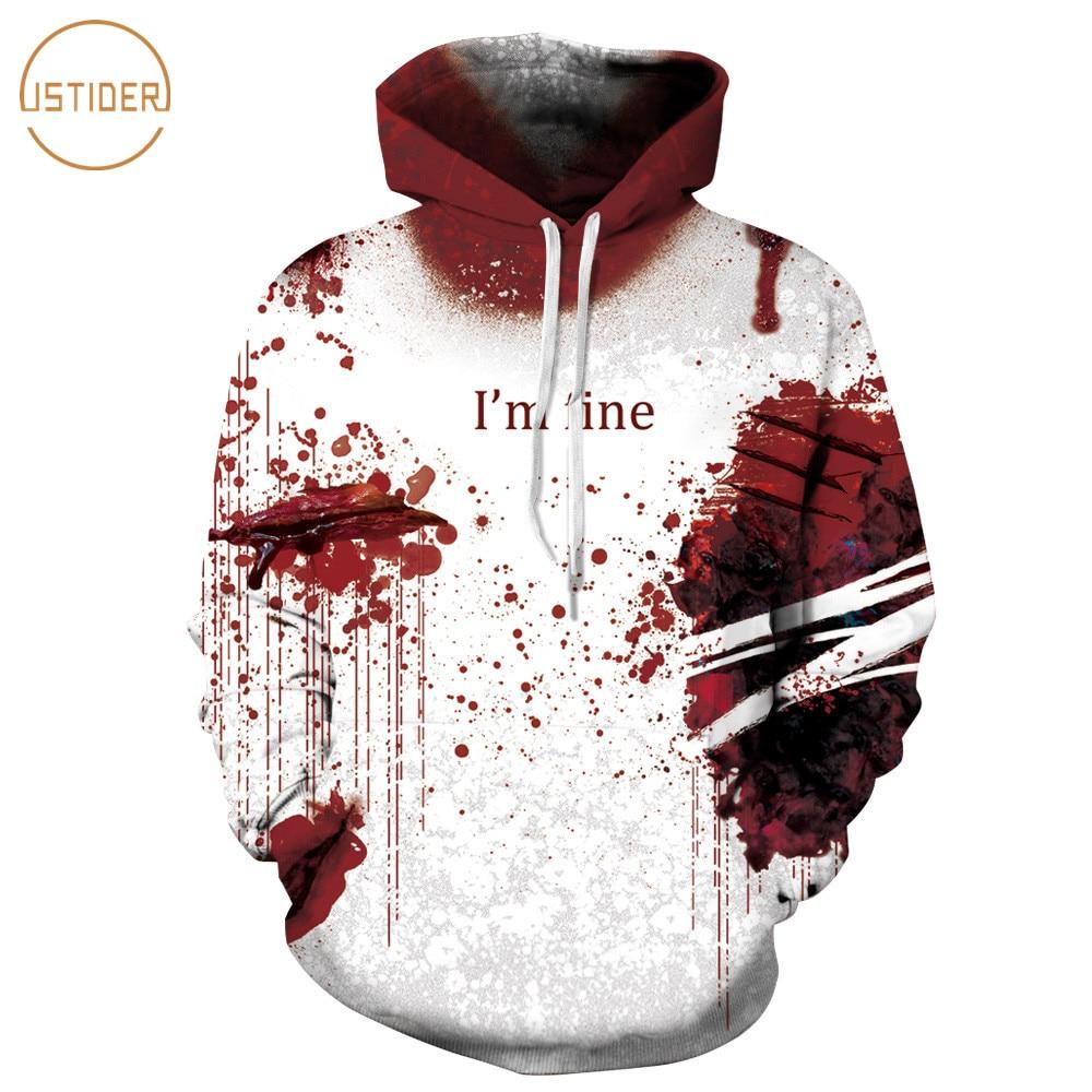 Hoodies & Sweatshirts New Autumn 3d Print Hoodies Men Women Blood Handprints Design Loose Fashion Moletom Feminino Leisure Streetwear Tracksuits