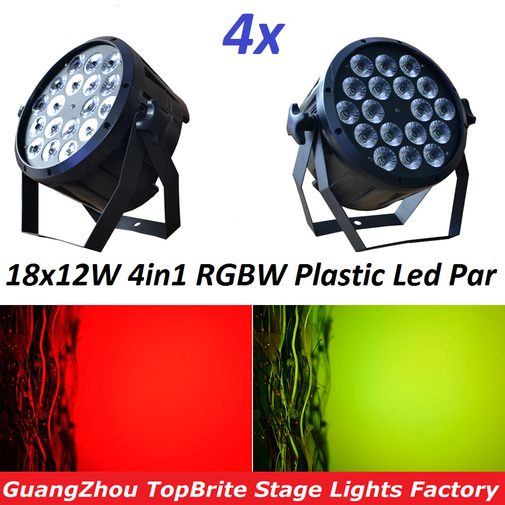 4xLot Լավ որակի Led Par Light Quad 18x12W 4in1 RGBW Beam Wash Dmx Par Can American Dj Պլաստիկ Առաջնորդված Flat Flat Flat Lights Led Lamps