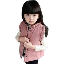 2017 Nouveau Mode Enfants Gilet Bébé Filles Gilet Épaissir Mignon Chaud Enfants Vêtements 2 Couleurs