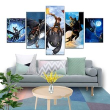5 Piece HD Print Cartoon Movie How To Train Your Dragon Poster Canvas Art Wall Paintings for Modern Home Decor Artwork Framed
