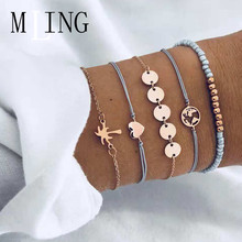 MLING 5 Pcs/Set Vintage Heart Coconut Tree World Map Wafer Bracelet Beads Bracelets & Bangles Boho Fashion Jewelry