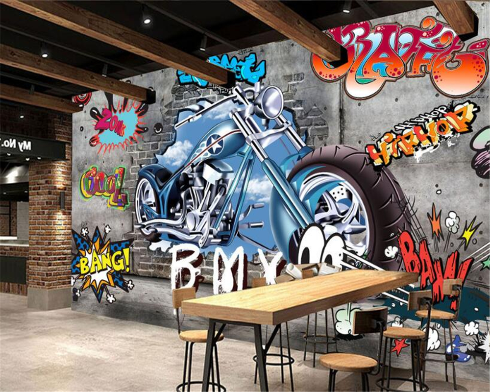 Beibehang wallpaper dinding 3d graffiti lukisan dinding wallpaper sepeda motor street kepribadian seni latar belakang perhiasan 3d wallpaper di wallpaper