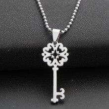 love heart lock unique symbol key snowflake unlocking tool hollow necklace stainless steel retro flower