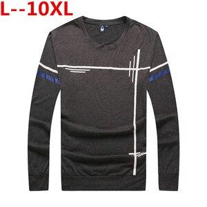 De talla grande 10XL 8XL 6XL nuevo básico largo manga marca de camisetas de Hombre Ropa clásica casual impreso camisetas de algodón stretch Camiseta Hombre