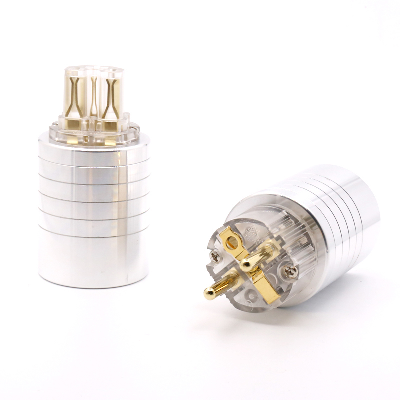 Hifi audio gold  plated EUR schuko AC power plug  IEC Female  power connector for diy EU power cable -in Plug & Connectors from Consumer Electronics