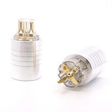 ハイファイオーディオゴールドプレートユーロ schuko AC 電源プラグ IEC メス電源コネクタ diy eu の電源ケーブル
