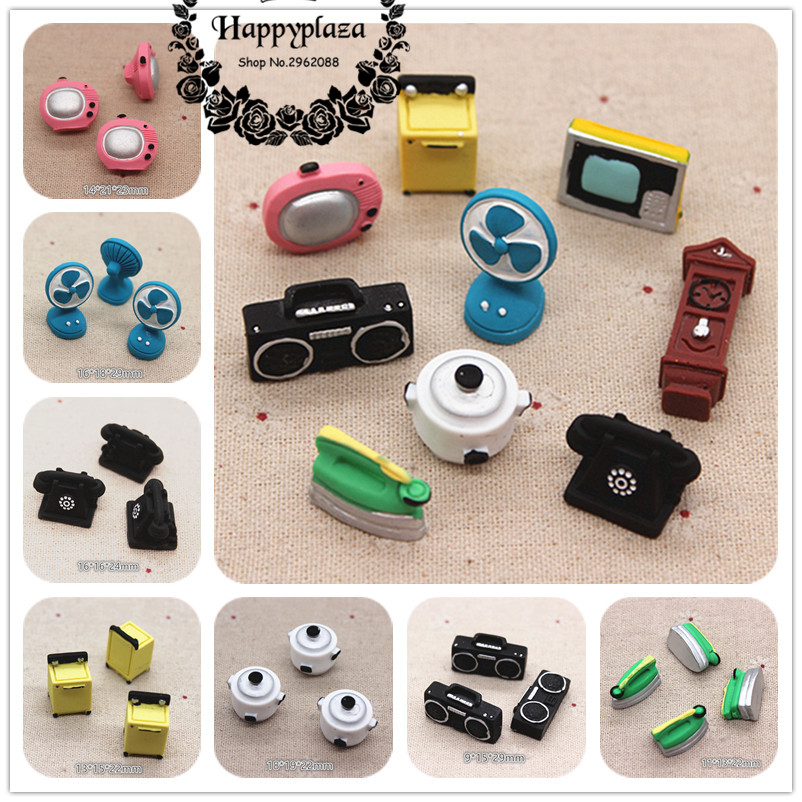 Cute New Resin 3D Antique Home Appliance TV/Radio/Desk Phone/Iron/Washer Miniature Art Supply Decoration Charm Craft DIY