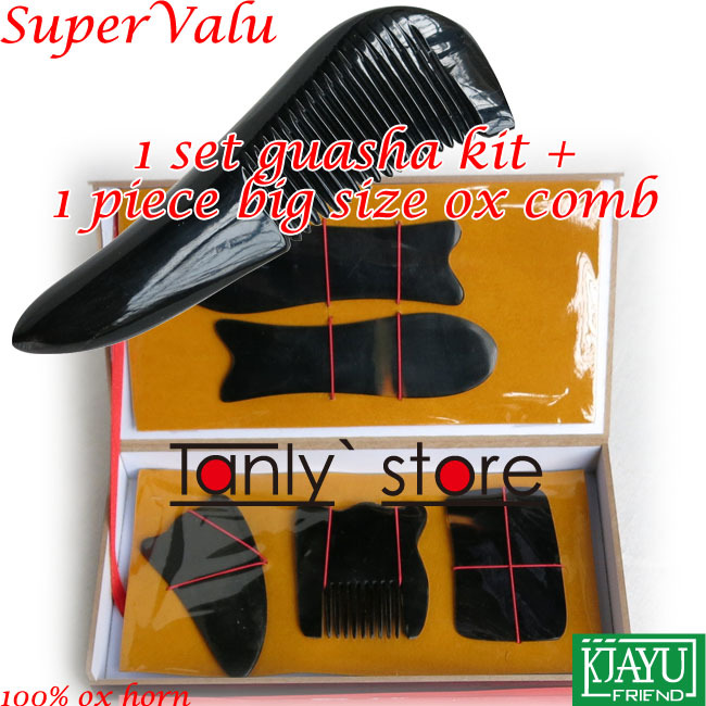 100% buffalo horn! Traditional Acupuncture Massager tool hard box Gua Sha beauty kit 5pcs/set with chart triangle comb цикл лыжи детские быстрики цикл