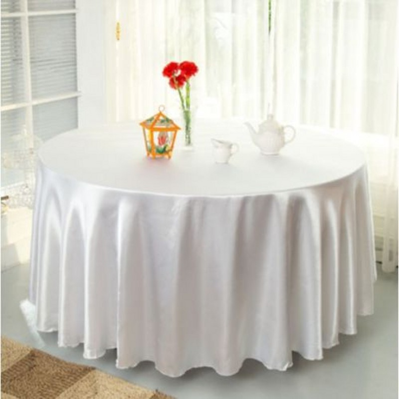Delightful 10pcs White 120 Inch Round Satin Tablecloths Table Cover For Wedding Party  Restaurant Banquet Decorations(