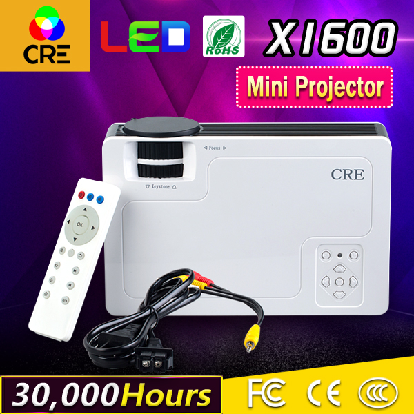 CRE X1600 MINI Portable LED Projector 800*480 1000Lumens For Video Games TV Home Theater Movie Support HDMI VGA AV SD USB gp802a mini portable led projector 200 lumens 480 320 pixels contrast ratio 600 1 with hdmi vga usb av tv sd port home theater