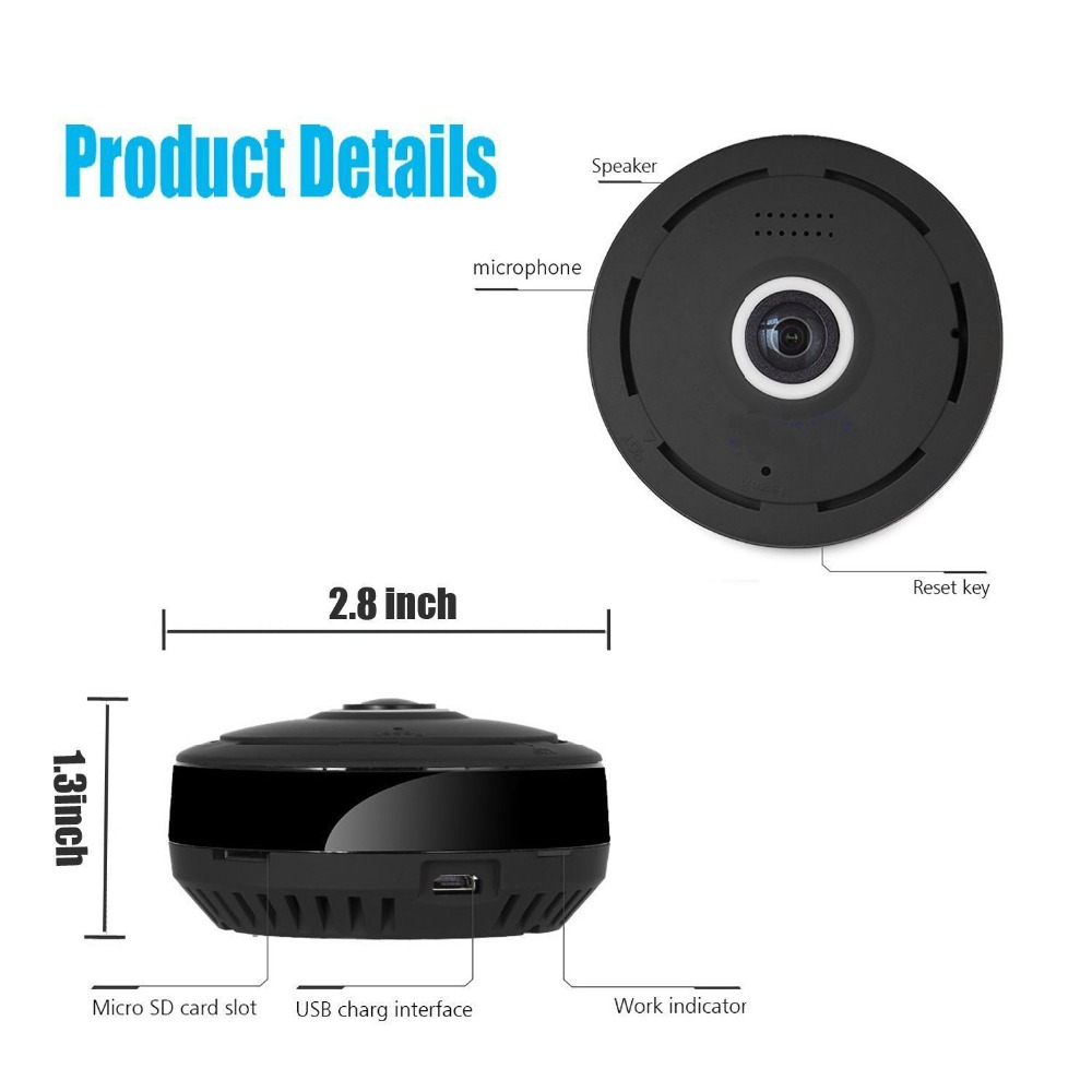 Kruiqi 360 Degree 960P HD Panoramic Wireless IP Camera CCTV WiFi Home Surveillance Security Camera System Indoor Remote Camera