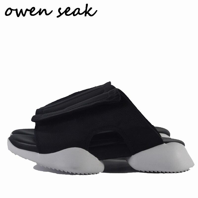 7ef7a7815 branco Desliza Flip Flops Preto Chinelos Homens Sapatos Sandálias Owen Seak  Flats Luxo Formadores Verão Roma ...