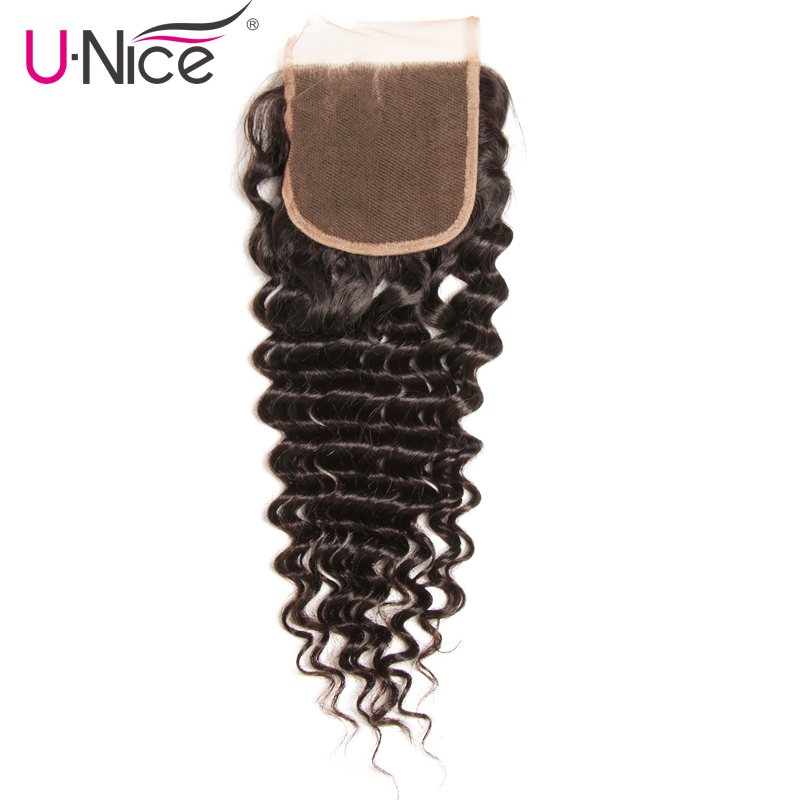 Unice Hair Peruvian Deep Wave Lace Closure 1 PCS Free Part Peruvian Remy Hair Bundles 100% Human Hair Free Shipping-in Closures from Hair Extensions & Wigs    3