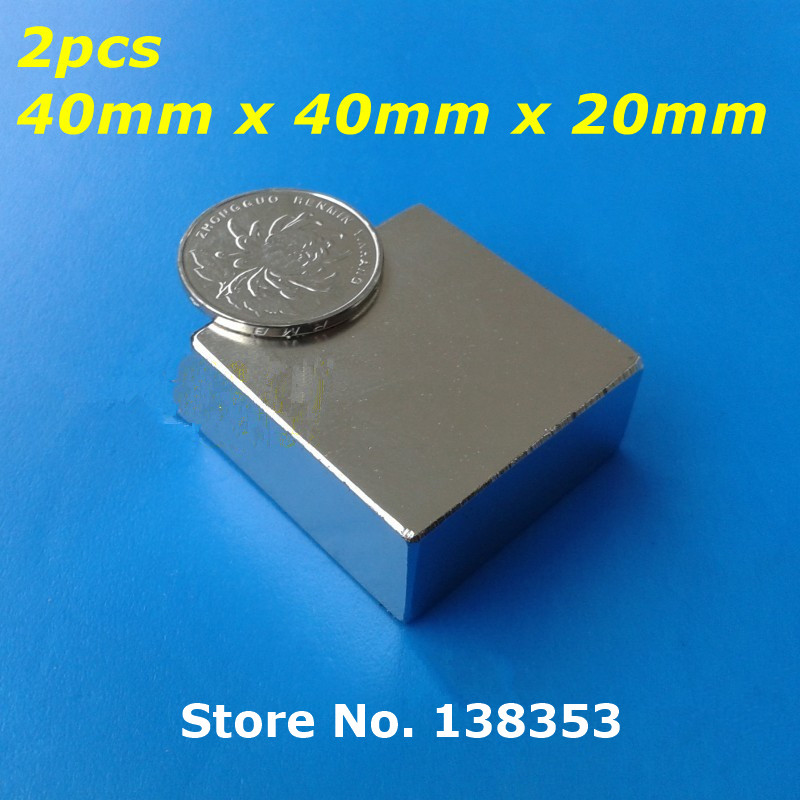 2pcs Bulk Super Strong Neodymium Square Block Magnets 40mm x 40mm x 20mm N35 Rare Earth NdFeB Cuboid Permanent Magnet hakkin 5pcs super strong neodymium magnet block cuboid rare earth magnets n35 20 x 10 x 2mm