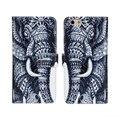 Estilo indio elefante patrón teléfono case para iphone 6 s case tirón de la carpeta del cuero case para iphone 6 s leather case