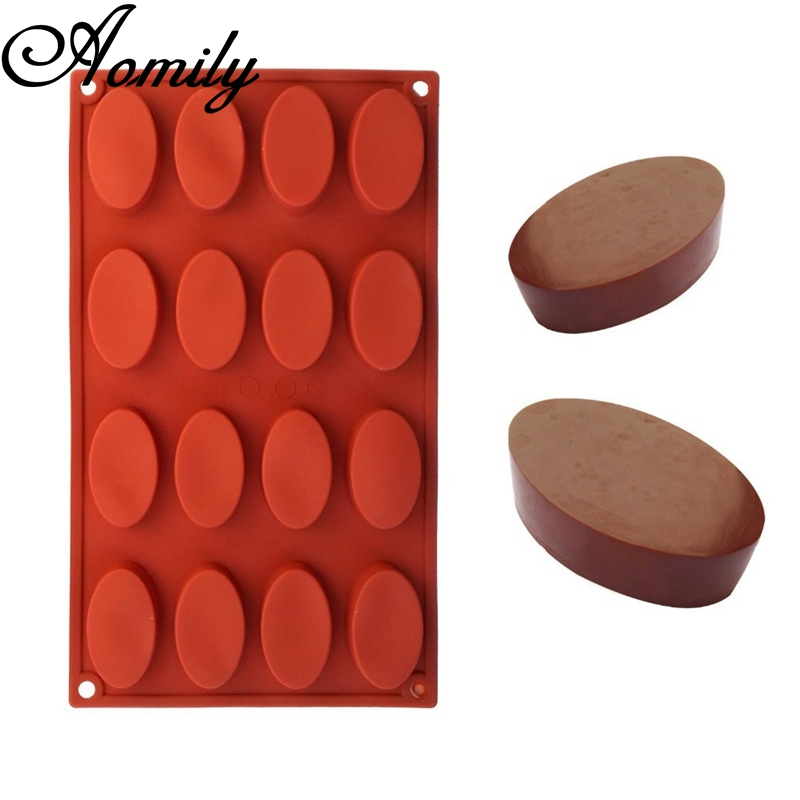 Aomily 16 Holes Ellipse Shaped 3D Silicon Chocolate Jelly Candy Cake Bakeware DIY Pastry Bar Ice Block Soap Mould Baking Tool