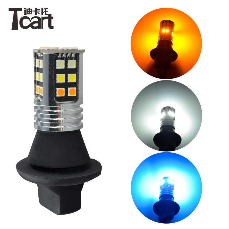 Luz de circulación diurna Tcart 2x bombillas Led de coche DRL, luz de giro nocturna DRL, lámpara PY21W BAU15S para Mazda 5 2004-2010, accesorios para coche